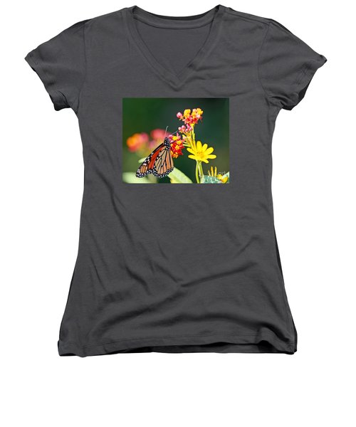 Butterfly Monarch On Lantana Flower Women's V-Neck T-Shirt