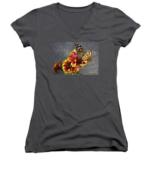 Women's V-Neck T-Shirt (Junior Cut) featuring the photograph Butterfly On A Gaillardia by Verana Stark