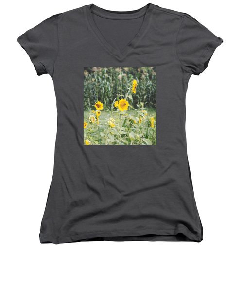 Butterfly On Sunflower Women's V-Neck T-Shirt