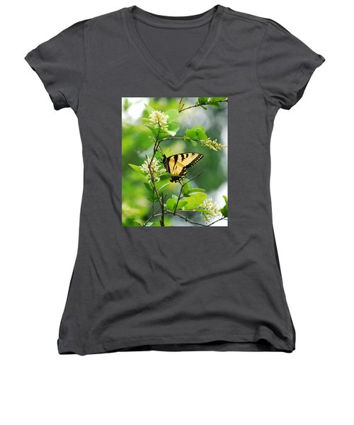Women's V-Neck T-Shirt (Junior Cut) featuring the photograph Butterfly Tiger Swallow by Peggy Franz