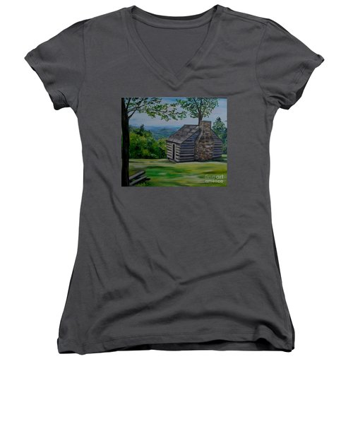 Women's V-Neck T-Shirt (Junior Cut) featuring the painting Cabin On The Blue Ridge Parkway In Va by Julie Brugh Riffey
