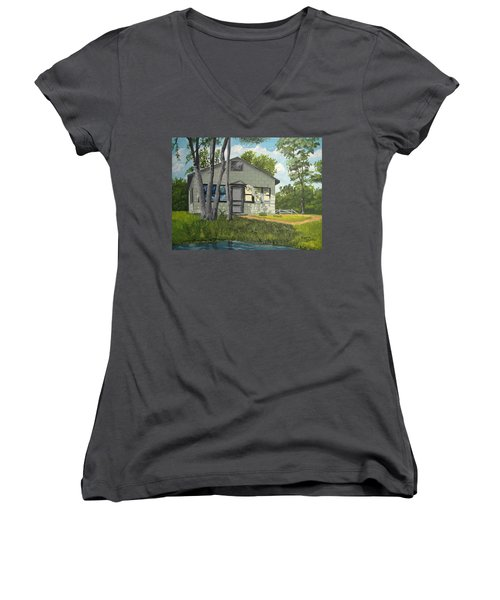 Cabin Up North Women's V-Neck (Athletic Fit)