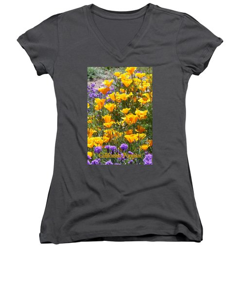 Women's V-Neck T-Shirt (Junior Cut) featuring the photograph California Poppies by Carla Parris