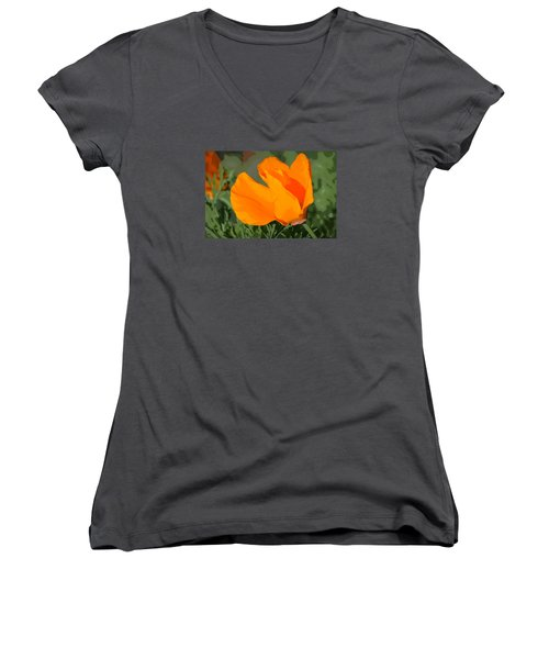 California Poppy2 Women's V-Neck T-Shirt (Junior Cut) by Rima Biswas