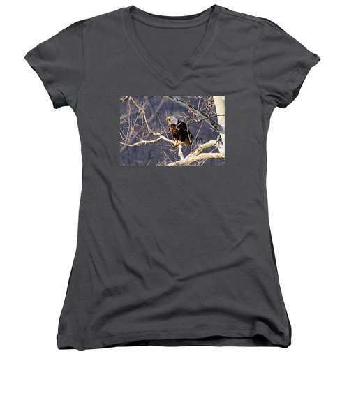 Women's V-Neck T-Shirt (Junior Cut) featuring the photograph Calling For His Mate by Randall Branham