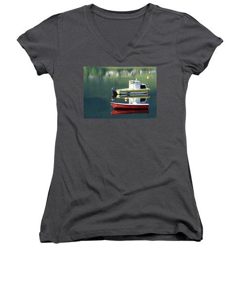 Women's V-Neck T-Shirt (Junior Cut) featuring the photograph Calm Waters by Lynn Bolt