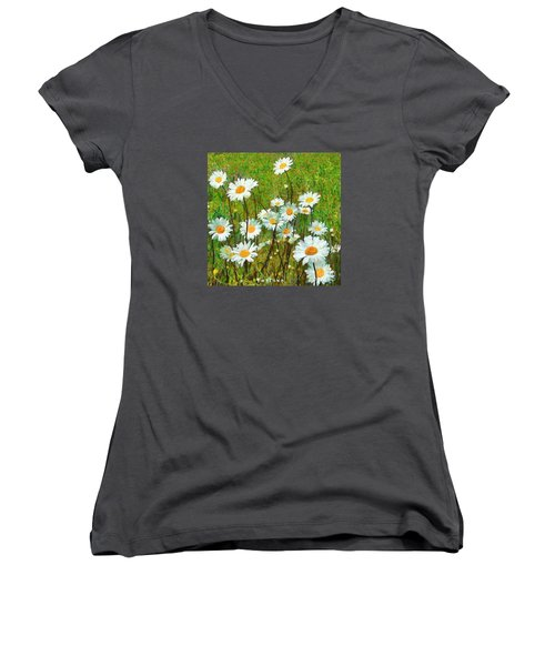 Women's V-Neck T-Shirt (Junior Cut) featuring the painting Camomiles Field by Dragica  Micki Fortuna