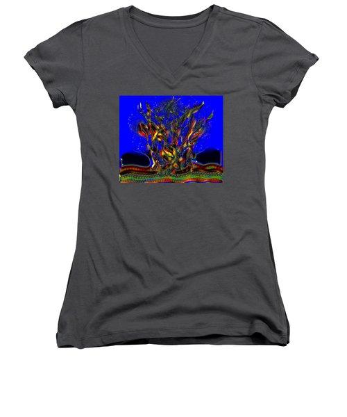 Camp Fire Delight Women's V-Neck T-Shirt (Junior Cut) by Alec Drake