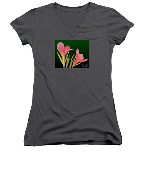 Canna Lilly Whimsy Women's V-Neck (Athletic Fit)