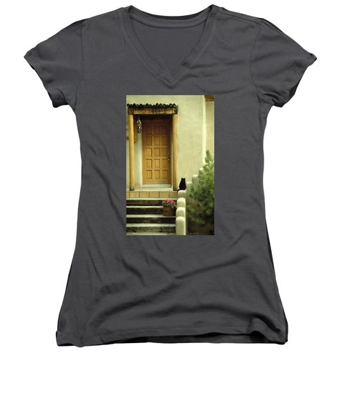 Women's V-Neck T-Shirt (Junior Cut) featuring the photograph Cat Post by Brent L Ander