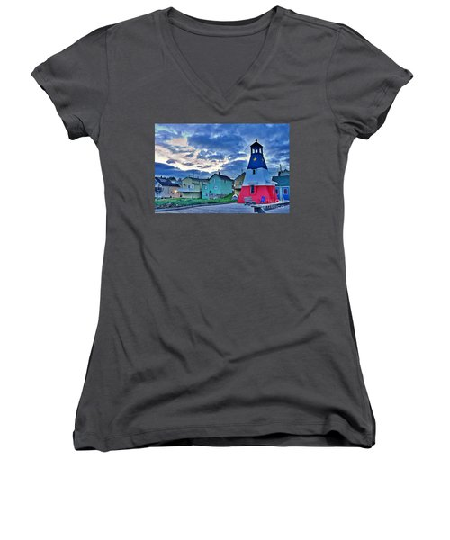 Cheticamp In Cape Breton Nova Scotia Women's V-Neck T-Shirt
