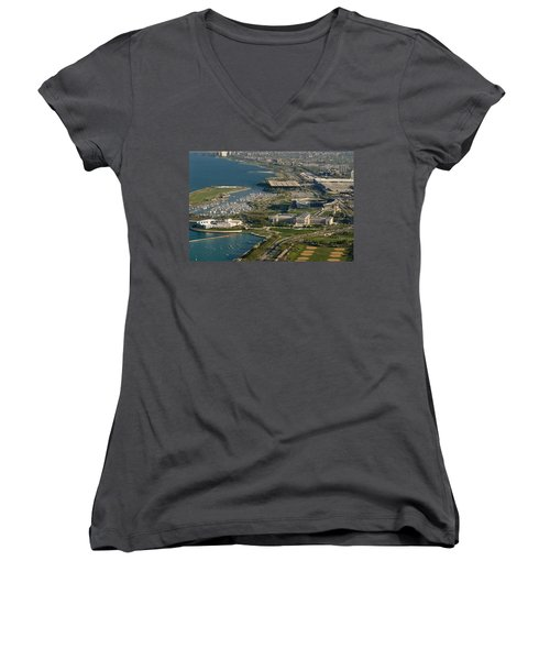 Chicagos Lakefront Museum Campus Women's V-Neck T-Shirt (Junior Cut) by Steve Gadomski