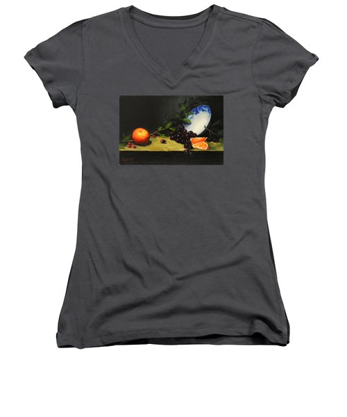 China Bowl And Fruits Women's V-Neck (Athletic Fit)