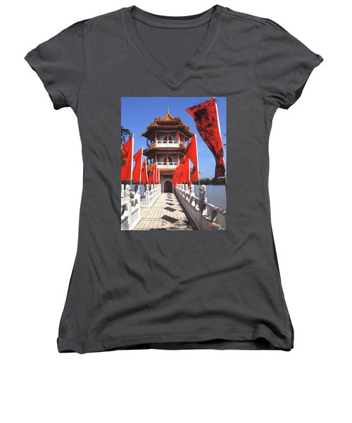 Chinese Gardens  North Pagoda 19c Women's V-Neck T-Shirt (Junior Cut) by Gerry Gantt