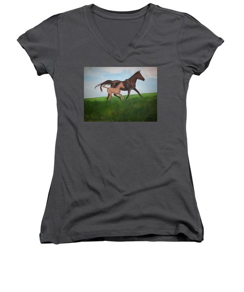 Women's V-Neck T-Shirt (Junior Cut) featuring the painting Chloe's Dream by George Pedro