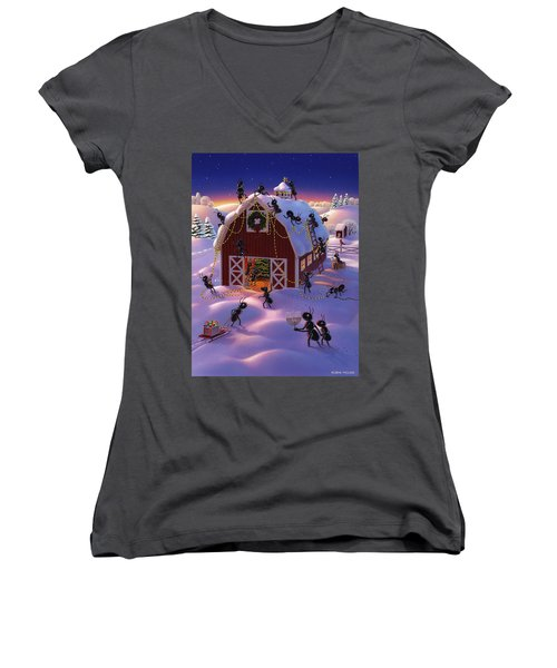 Christmas Decorator Ants Women's V-Neck
