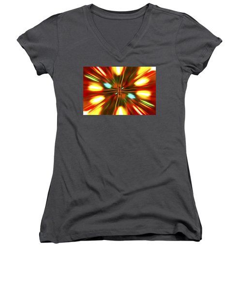 Women's V-Neck T-Shirt (Junior Cut) featuring the photograph Christmas Light Abstract by Steve Purnell
