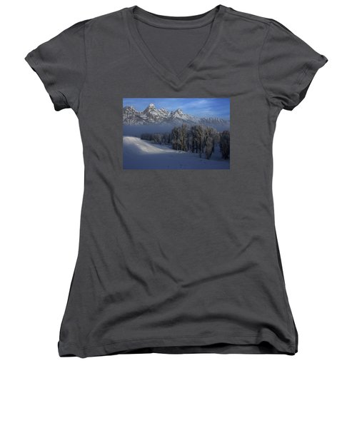 Christmas Morning Grand Teton National Park Women's V-Neck (Athletic Fit)