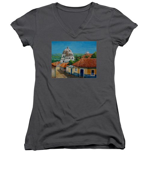 Church Of Pespire In Honduras Women's V-Neck