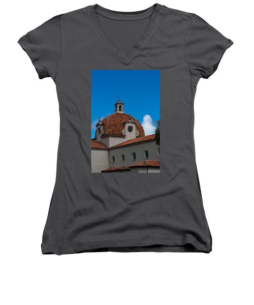 Women's V-Neck T-Shirt (Junior Cut) featuring the photograph Church Of The Little Flower Dome And Cross by Ed Gleichman