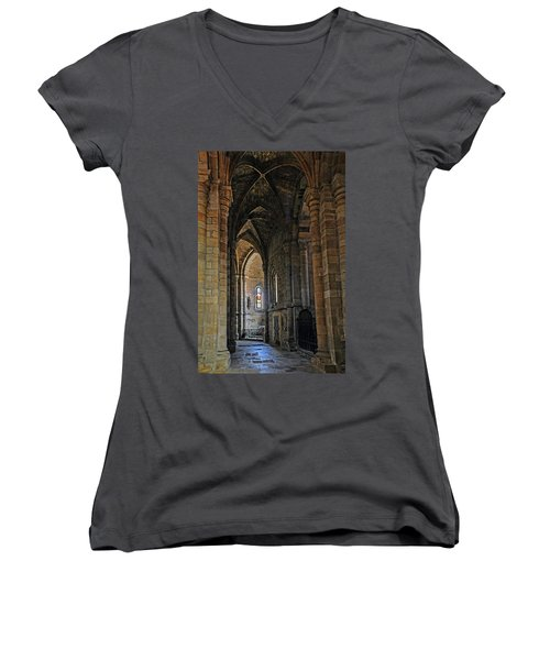 Women's V-Neck T-Shirt (Junior Cut) featuring the photograph Church Passageway Provence France by Dave Mills