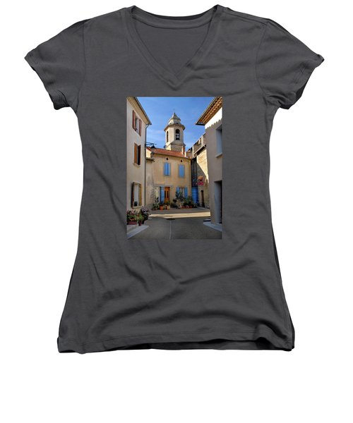 Women's V-Neck T-Shirt (Junior Cut) featuring the photograph Church Steeple In Provence by Dave Mills