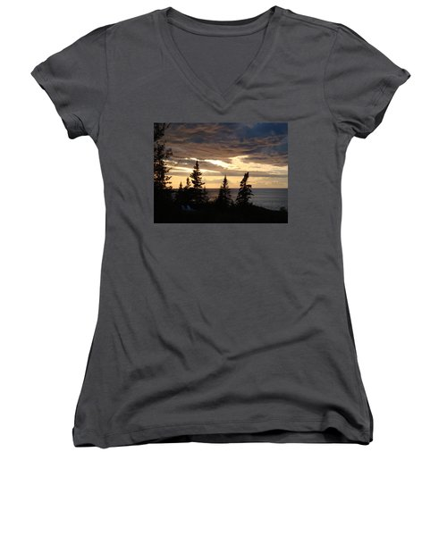 Women's V-Neck T-Shirt (Junior Cut) featuring the photograph Clearing Sky by Bonfire Photography