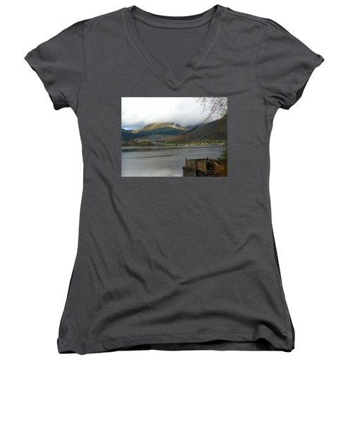 Women's V-Neck T-Shirt (Junior Cut) featuring the photograph Cloud Over Beinn An Lochain by Lynn Bolt