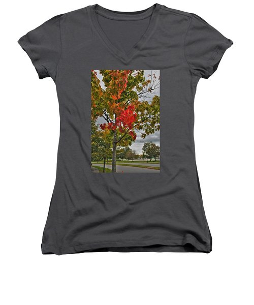 Women's V-Neck T-Shirt (Junior Cut) featuring the photograph Cold Autumn Breeze  by Michael Frank Jr