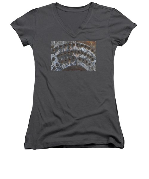 Women's V-Neck T-Shirt (Junior Cut) featuring the photograph Color Of Steel 7a by Fran Riley