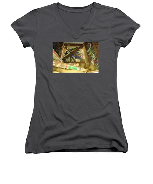 Women's V-Neck T-Shirt (Junior Cut) featuring the photograph Color Of Steel 8 by Fran Riley