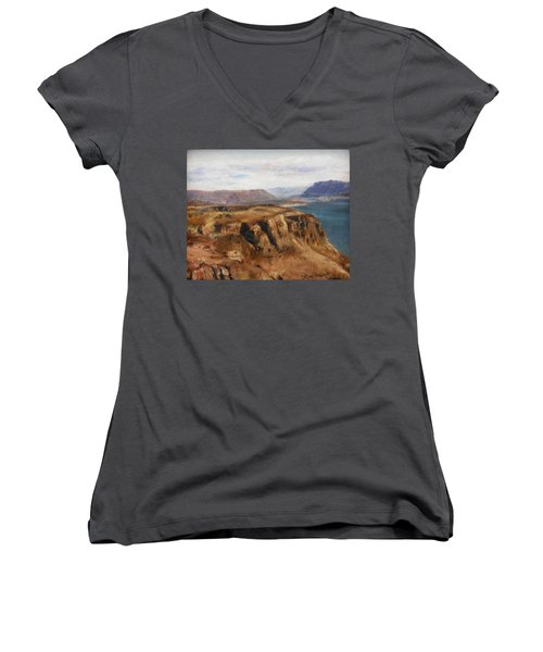 Women's V-Neck T-Shirt (Junior Cut) featuring the painting Columbia River Gorge I by Lori Brackett