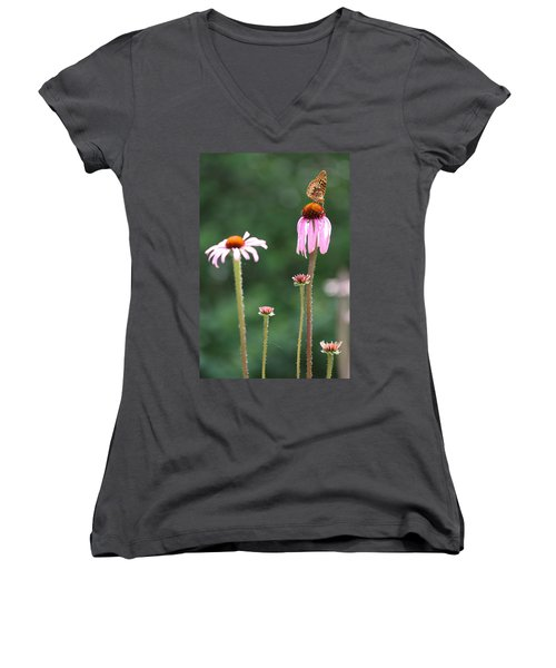 Coneflowers And Butterfly Women's V-Neck