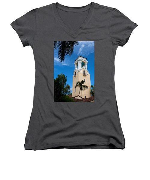 Women's V-Neck T-Shirt (Junior Cut) featuring the photograph Congregational Church Of Coral Gables by Ed Gleichman