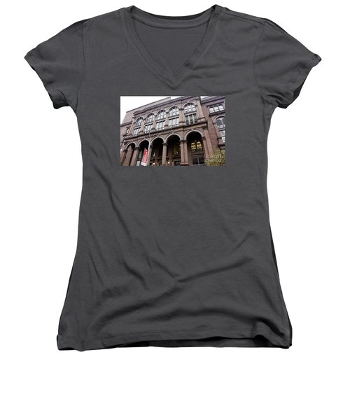 Cooper Union Women's V-Neck T-Shirt (Junior Cut) by David Bearden