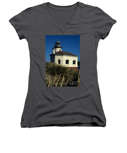 Women's V-Neck T-Shirt (Junior Cut) featuring the photograph Coquille Light by Sharon Elliott