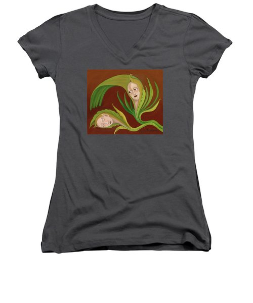 Corn Love Fantastic Realism Faces In Green Corn Leaves Sleeping Or Dead Loving Or Mourning Gree Women's V-Neck T-Shirt