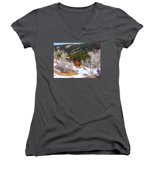 Women's V-Neck T-Shirt (Junior Cut) featuring the photograph Country Barn by Shannon Harrington