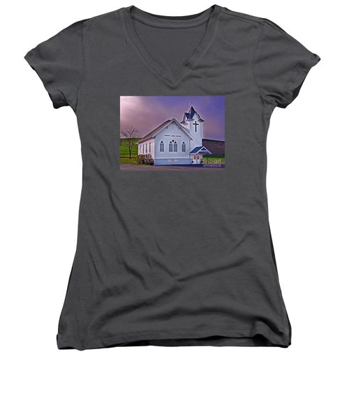 Country Church At Sunset Art Prints Women's V-Neck T-Shirt (Junior Cut) by Valerie Garner