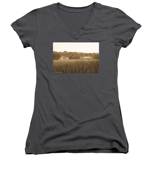 Women's V-Neck T-Shirt (Junior Cut) featuring the photograph Country Estate by Shannon Harrington
