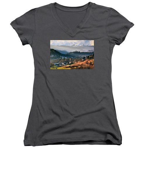 Countryside. Slovenia Women's V-Neck (Athletic Fit)