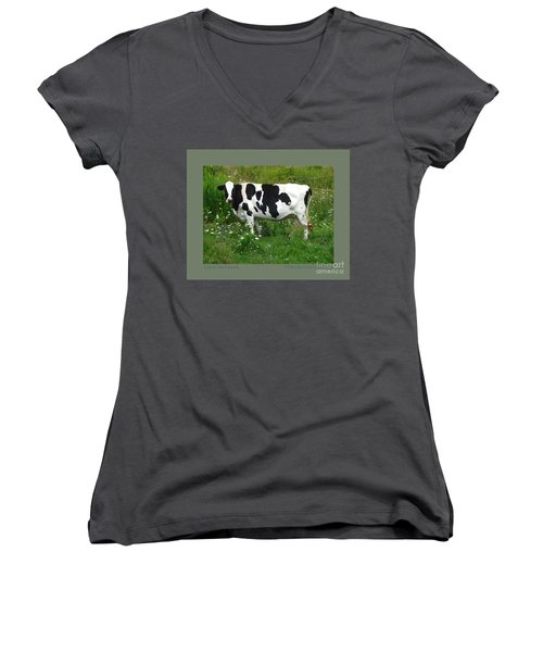 Cow In The Flowers Women's V-Neck (Athletic Fit)