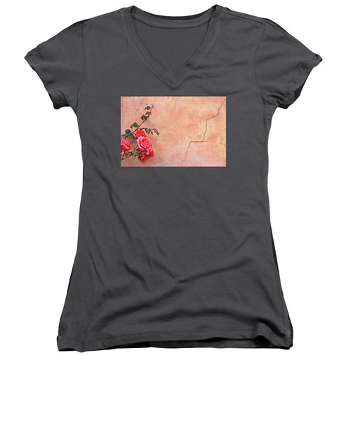 Cracked Wall And Rose Women's V-Neck