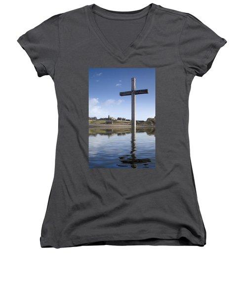 Women's V-Neck T-Shirt (Junior Cut) featuring the photograph Cross In Water, Bewick, England by John Short