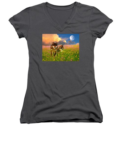 Cry At The Moon Women's V-Neck