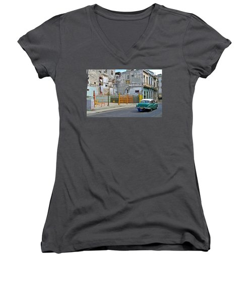 Women's V-Neck T-Shirt (Junior Cut) featuring the photograph Cuba Vintage American Car  by Lynn Bolt