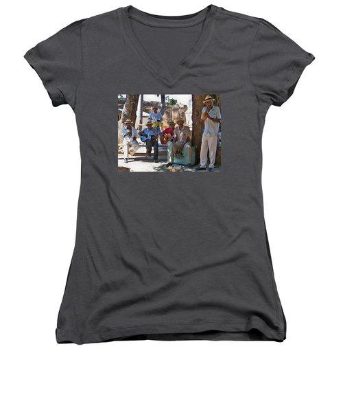 Women's V-Neck T-Shirt (Junior Cut) featuring the photograph Cuban Band by Lynn Bolt