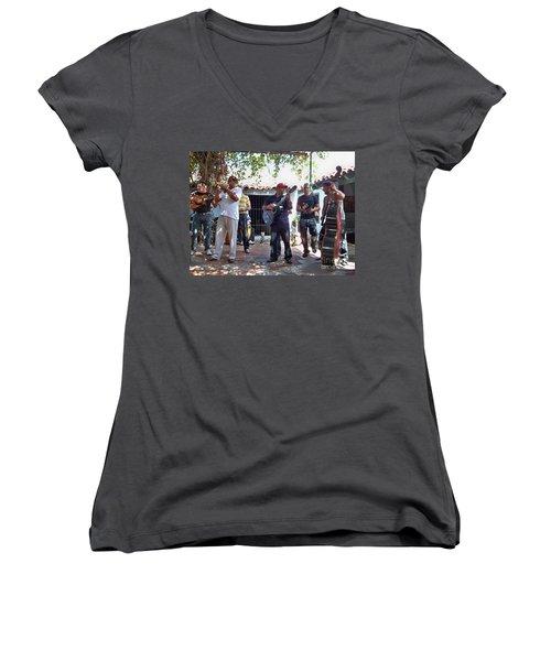 Women's V-Neck T-Shirt (Junior Cut) featuring the photograph Cuban Musicians by Lynn Bolt