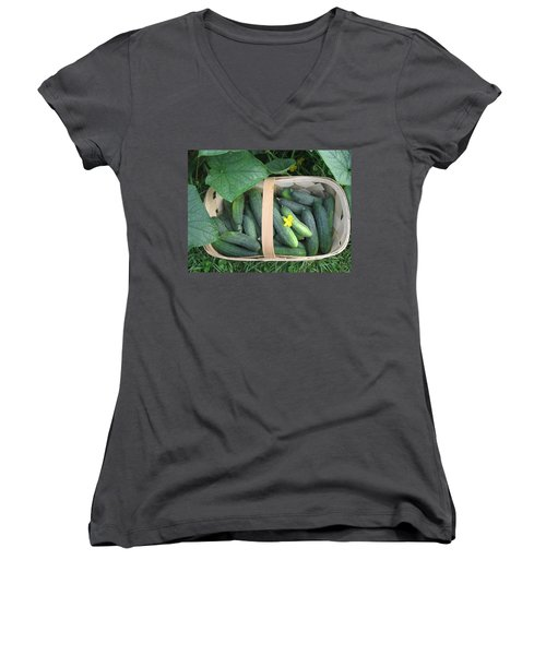 Cucumbers In Garden Basket Women's V-Neck (Athletic Fit)