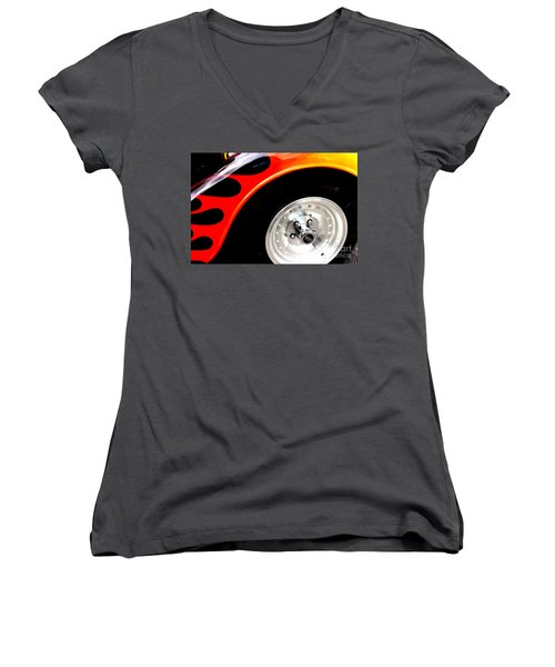 Women's V-Neck T-Shirt (Junior Cut) featuring the digital art Curves Of Flames by Tony Cooper